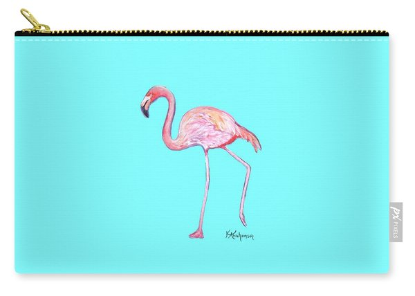 Flamingo On Blue Carry-all Pouch