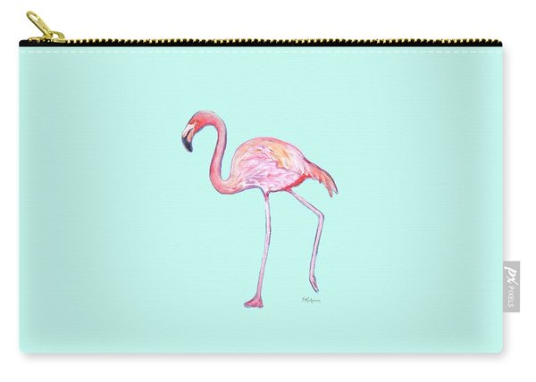 Flamingo On Mint Background Carry-all Pouch