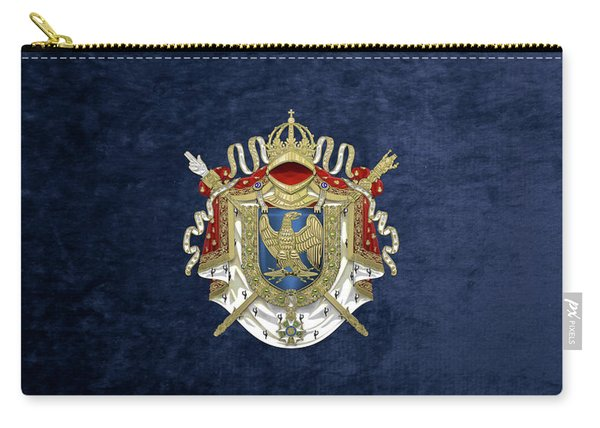 Greater Coat Of Arms Of The First French Empire Over Blue Velvet Carry-all Pouch