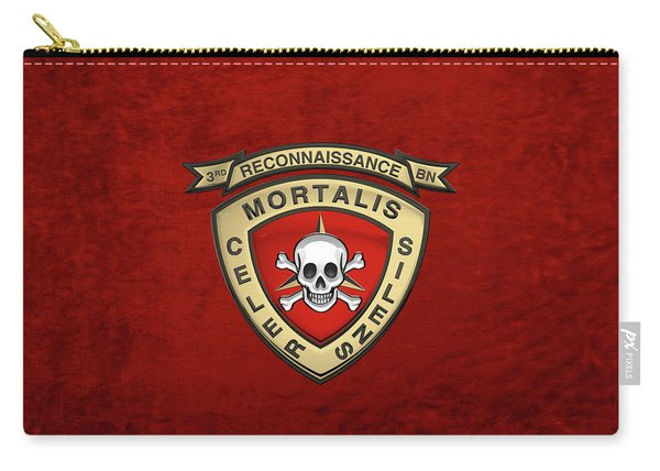 U S M C  3rd Reconnaissance Battalion -  3rd Recon Bn Insignia Over Red Velvet Carry-all Pouch