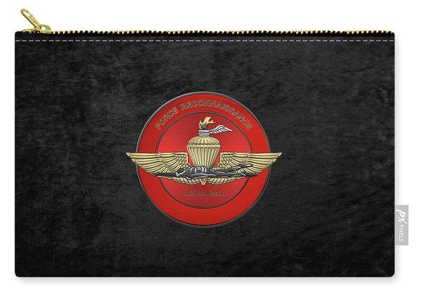 Marine Force Reconnaissance  -  U S M C   F O R E C O N  Insignia Over Black Velvet Carry-all Pouch