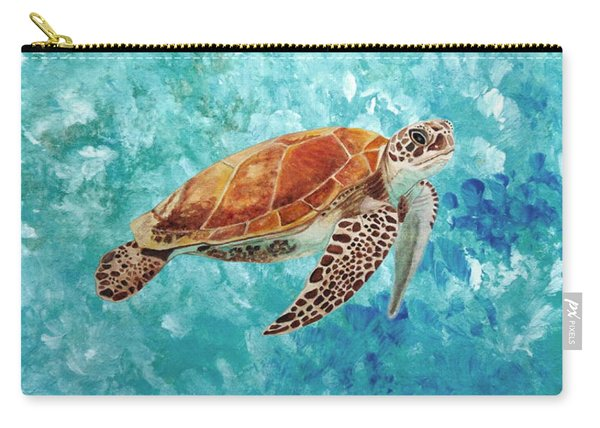 Carry-all Pouch featuring the painting Turtle Swimming by Angeles M Pomata