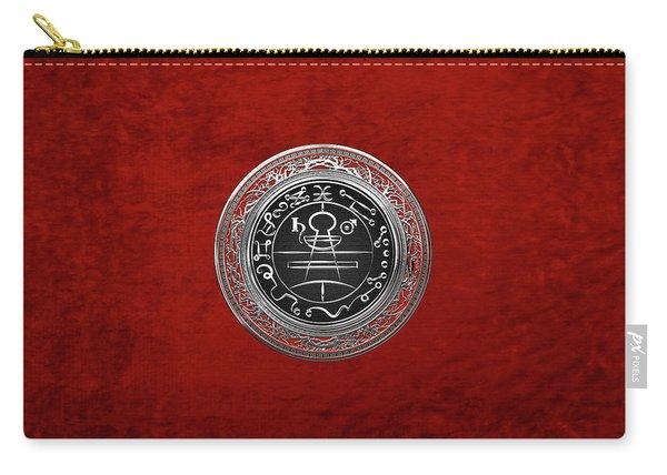 Silver Seal Of Solomon - Lesser Key Of Solomon On Red Velvet  Carry-all Pouch