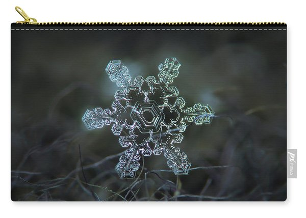 Carry-all Pouch featuring the photograph Real Snowflake - Slight Asymmetry New by Alexey Kljatov