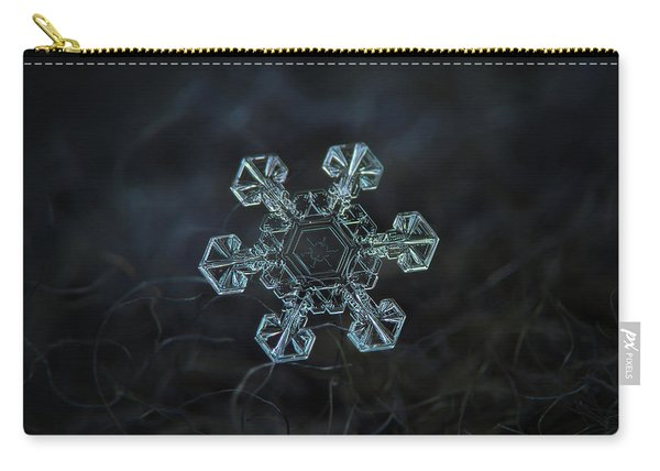 Carry-all Pouch featuring the photograph Real Snowflake - Ice Crown New by Alexey Kljatov