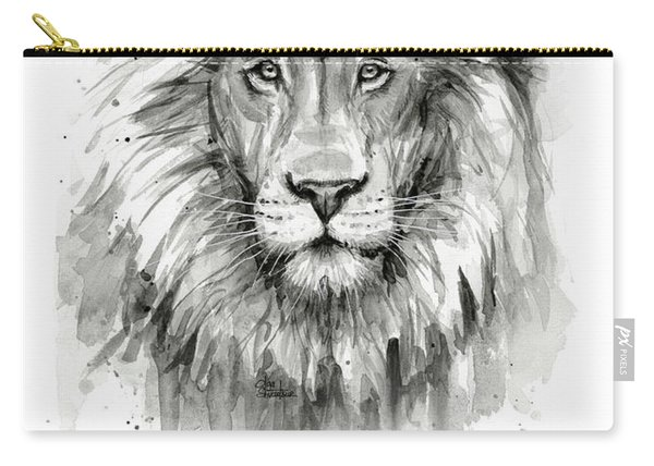 Lion Courage Motivational Quote Watercolor Animal Carry-all Pouch