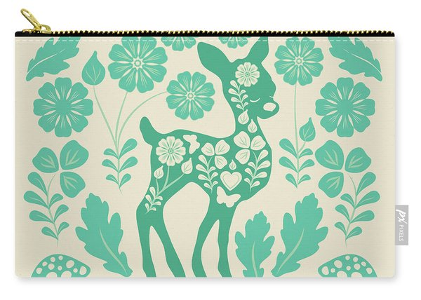 Mint Woodland Folk Deer  Carry-all Pouch