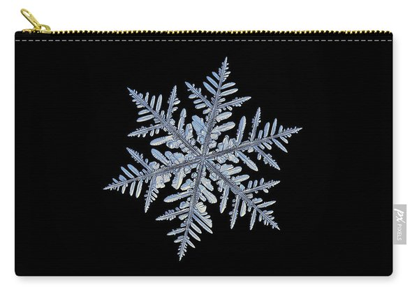Carry-all Pouch featuring the photograph Real Snowflake - Silverware Black by Alexey Kljatov
