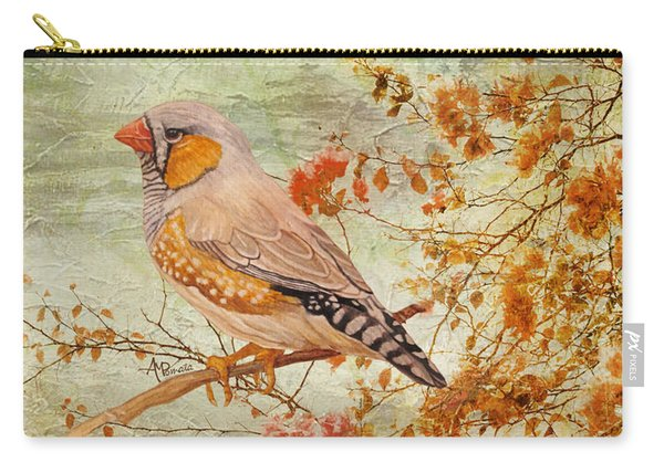Carry-all Pouch featuring the painting Zebra Finch Among Almond Trees by Angeles M Pomata