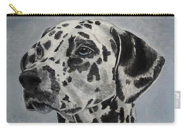 Carry-all Pouch featuring the painting Dalmatian Portrait by Angeles M Pomata