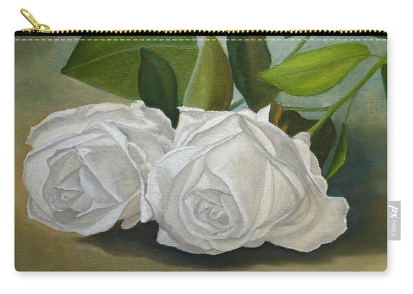 Carry-all Pouch featuring the painting White Roses by Angeles M Pomata