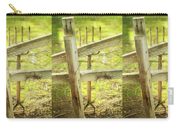 Spading Fork On Chicken Wire Fence Carry-all Pouch