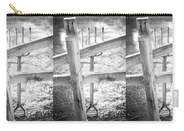 Spading Fork On Chicken Wire Fence In Black And White Carry-all Pouch