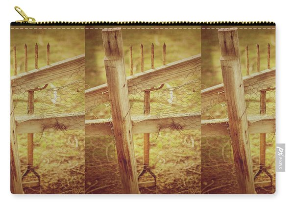 Spading Fork On Chicken Wire Fence Morning Sunlight Carry-all Pouch