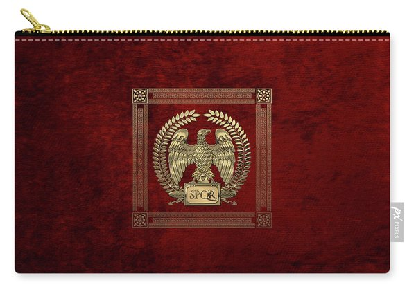 Roman Empire - Gold Imperial Eagle Over Red Velvet Carry-all Pouch