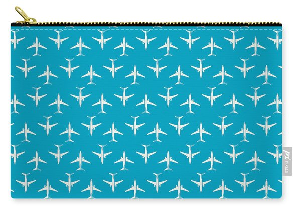 737 Passenger Jet Airliner Aircraft - Cyan Carry-all Pouch