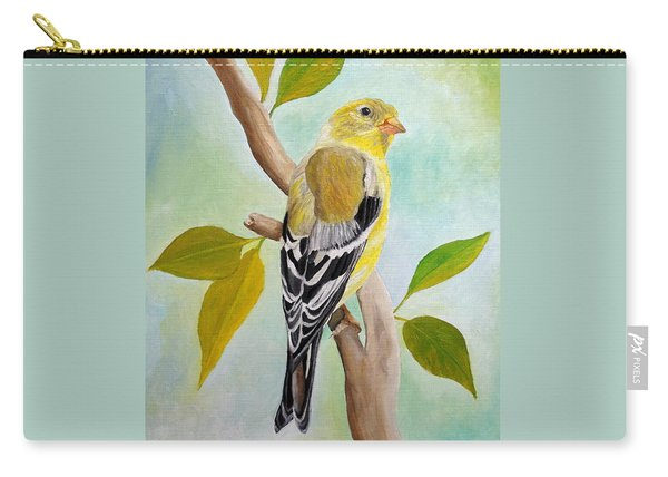Carry-all Pouch featuring the painting Pretty American Goldfinch by Angeles M Pomata