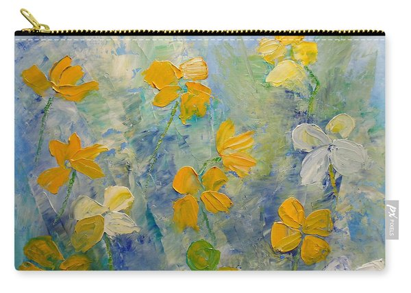 Carry-all Pouch featuring the painting Blossoms In Breeze by Angeles M Pomata