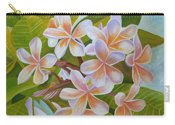 Carry-all Pouch featuring the painting Plumeria by Angeles M Pomata