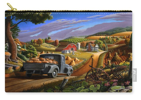Autumn Appalachia Thanksgiving Pumpkins Rural Country Farm Landscape - Folk Art - Fall Rustic Carry-all Pouch