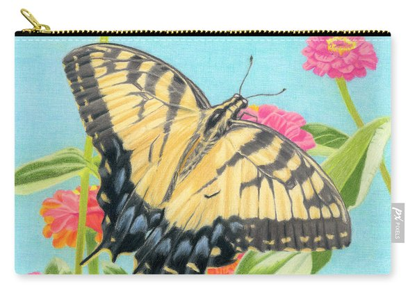 Swallowtail Butterfly And Zinnias Carry-all Pouch