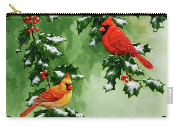 Cardinals And Holly - Version With Snow Carry-all Pouch