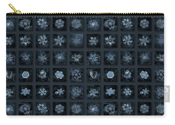 Carry-all Pouch featuring the photograph Snowflake Collage - Season 2013 Dark Crystals by Alexey Kljatov