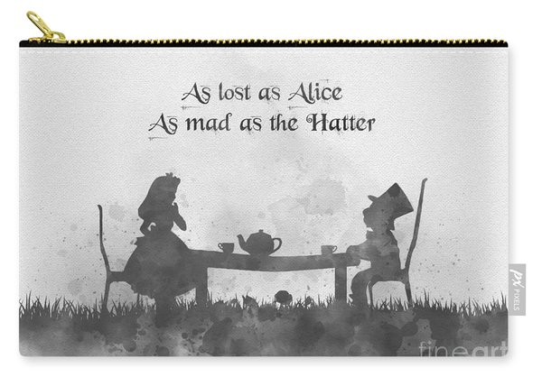 As Lost As Alice As Mad As The Hatter Black And White Carry-all Pouch