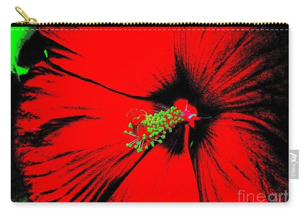 Asian Red Macro Hibiscus Carry-all Pouch