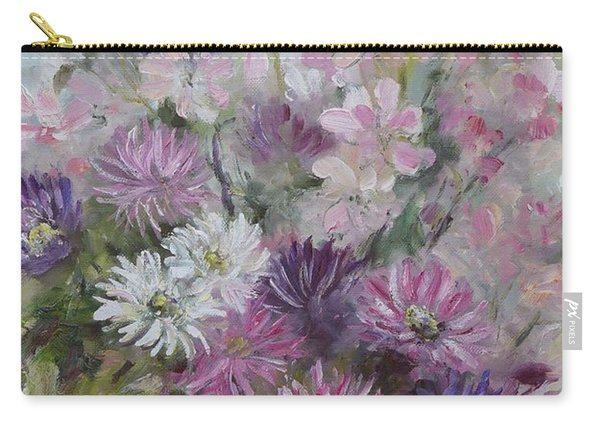 Carry-all Pouch featuring the painting Asters And Stocks by Ryn Shell