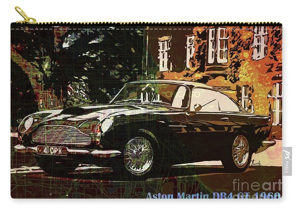 Aston Martin Db4 Gt 1960 On Old Chicago Map Carry-all Pouch