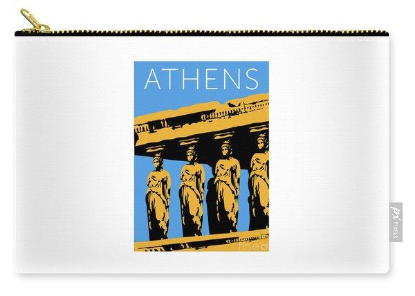Carry-all Pouch featuring the digital art Athens Erechtheum Blue by Sam Brennan