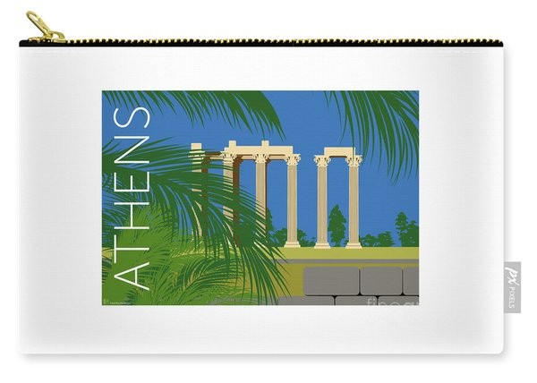 Carry-all Pouch featuring the digital art Athens Temple Of Olympian Zeus - Blue by Sam Brennan