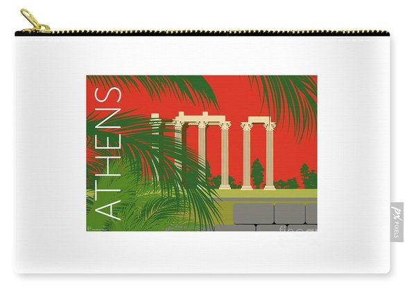 Carry-all Pouch featuring the digital art Athens Temple Of Olympian Zeus - Orange by Sam Brennan