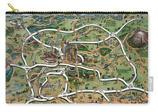 Atlanta Cartoon Map Carry-all Pouch