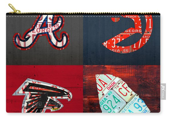 Atlanta Sports Fan Recycled Vintage Georgia License Plate Art Braves Hawks Falcons Plus State Map Carry-all Pouch