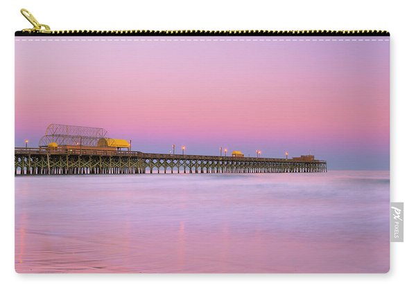 Carry-all Pouch featuring the photograph Atlantic Ocean And The Apache Pier At Sunset In South Carolina by Ranjay Mitra