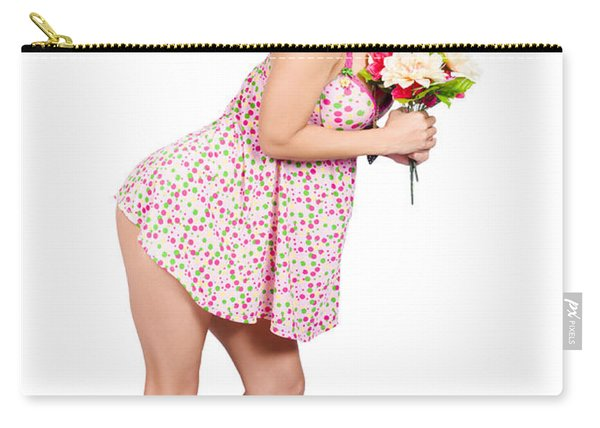 Attractive Asian Woman Holding A Flower Bunch Carry-all Pouch