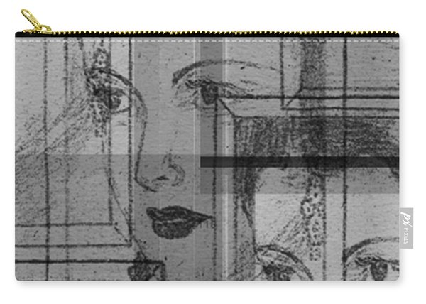 Aunt Edie Black And White Print Carry-all Pouch