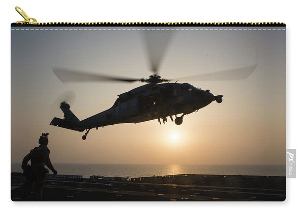 Aus Navy Sh60 Sea Hawk Helicopter Hovers The Amphibious Assault Ship Uss Bataan Lhd 5 Carry-all Pouch