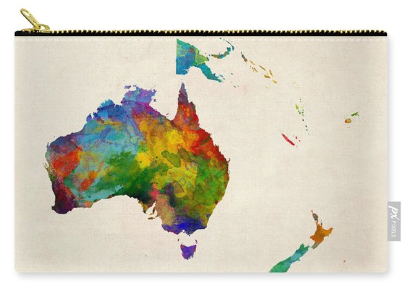 Australia Continent Watercolor Map Carry-all Pouch
