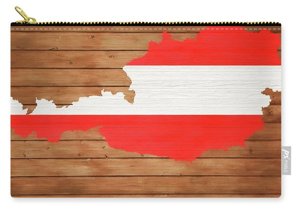 Austria Rustic Map On Wood Carry-all Pouch