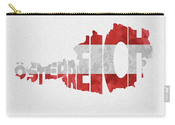 Austria Typographic Map Flag Carry-all Pouch