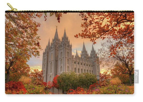 Carry-all Pouch featuring the photograph Autumn At Temple Square by Dustin  LeFevre