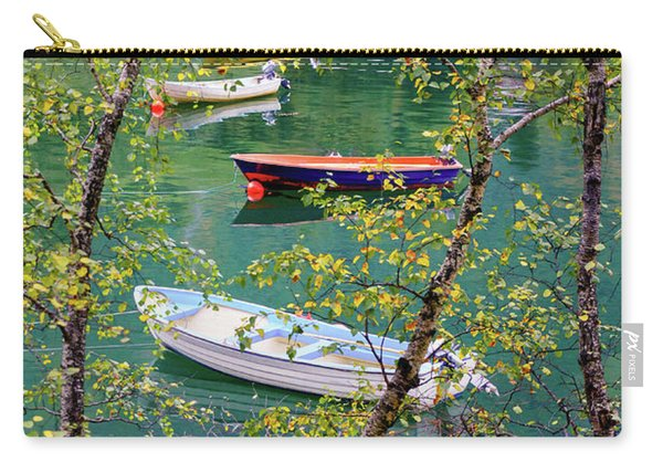 Carry-all Pouch featuring the photograph Autumn. Boats by Dmytro Korol