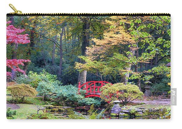 Carry-all Pouch featuring the photograph autumn  in Japanese park by Ariadna De Raadt