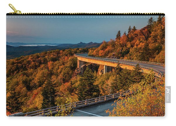 Morning Sun Light - Autumn Linn Cove Viaduct Fall Foliage Carry-all Pouch