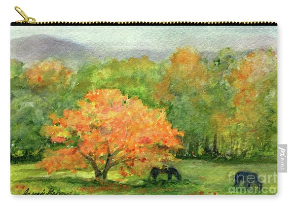 Autumn Maple With Horses Grazing Carry-all Pouch