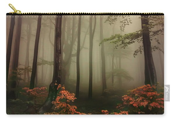 Carry-all Pouch featuring the photograph Autumn Mornin In Forgotten Forest by Jaroslaw Blaminsky