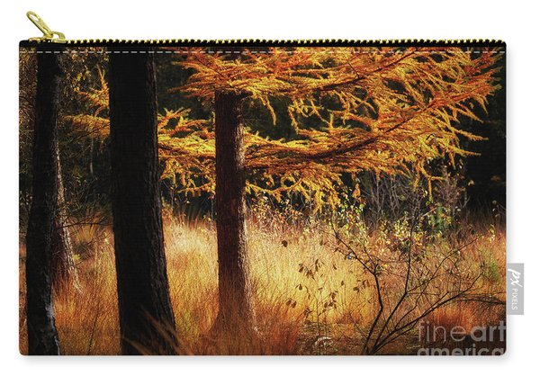 Autumn Scene In A Dark Forest, Pine Trees Gold Colored  Carry-all Pouch